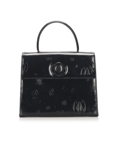 Cartier Happy Birthday Patent Leather Handbag Black