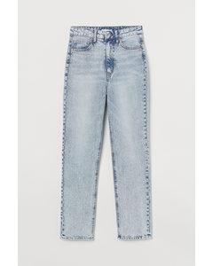 Slim Straight High Jeans Hellblau