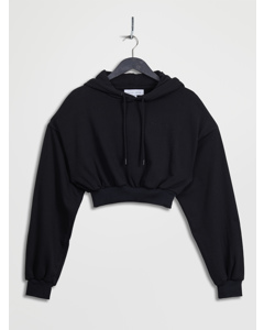 Cropped Oversized Hoodie Black