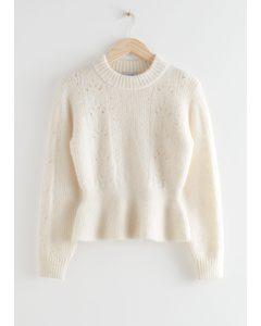 Mock Neck Peplum Knit Sweater White