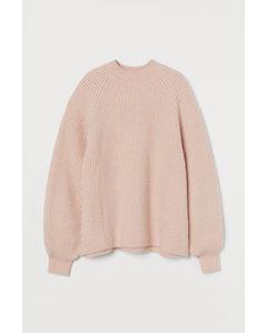 Gerippter Pullover Puderrosa