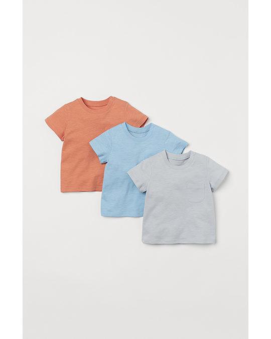 H&M Set Van 3 T-shirts Lichtblauw/oranje/lichtgrijs