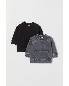 2-pack Sweatshirt Svart/mörk Gråmelerad