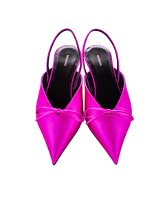 Balenciaga Knife Slingback Satin Mule Pink