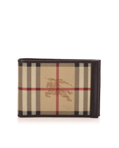 Burberry Haymarket Check Canvas Wallet Brown