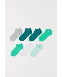 7 Paar Enkelsokken Groen