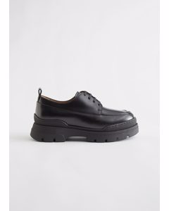 Chunky Sole Leather Oxfords Black