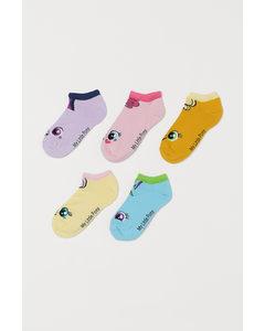 5 Paar Sneakersokken Lichtroze/my Little Pony