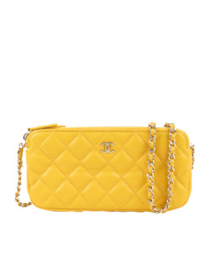 Chanel Cc Caviar Leather Wallet On Chain Yellow
