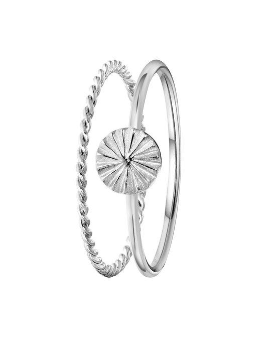 Lucardi Zilveren Ring 2delig Disc/twist