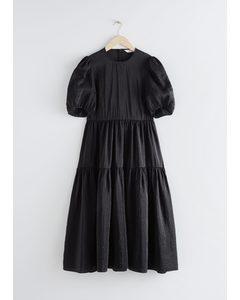 Voluminous Puff Sleeve Midi Dress Black