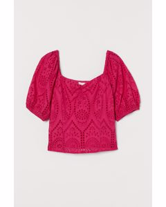 Bluse mit Broderie Anglaise Cerise