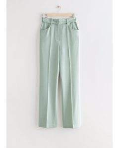 Tailored Belted High Waist Trousers Green