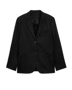 Slim Linen Blend Blazer Black