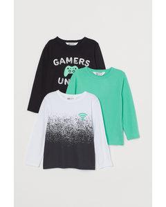 3er-Pack Jerseyshirts Hellgrün/Gamers Unite