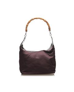 Gucci Bamboo Nylon Shoulder Bag Black