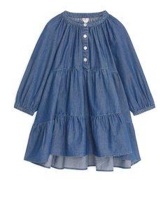 Denim Frill Dress Blue