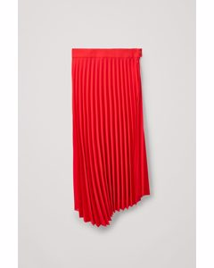Asymmetric-hem Pleated Skirt Red