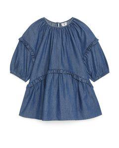 Jeanskleid mit Volants Blau