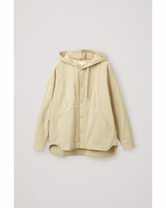 Padded Hooded Shirt Beige