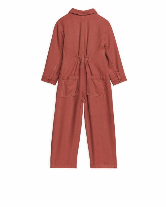 Arket Lyocell Workwear Jumpsuit Terracotta