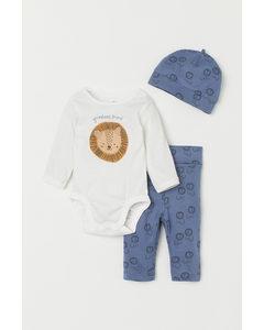 3-piece Cotton Jersey Set Blue/lion
