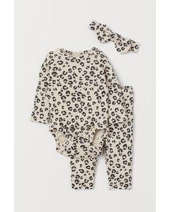 3-piece Cotton Jersey Set Light Beige/leopard Print