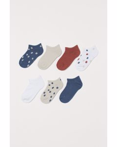 7er-Pack Sneakersocken Ziegelrot/Gepunktet