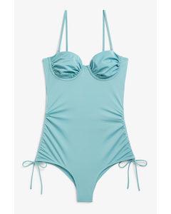 Badeanzug mit Bügel Blau