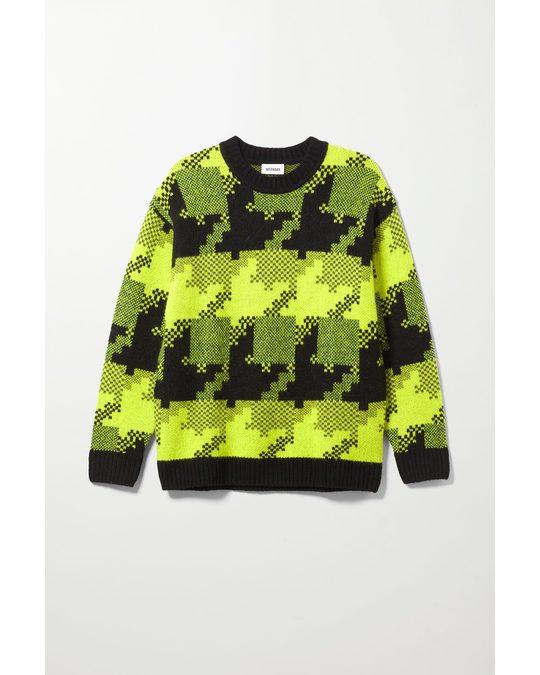 Weekday Pullover Diego mit Hahnentritt-Print Schwarz/Gelb