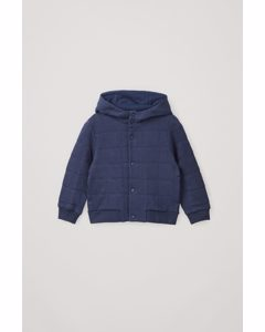 Organic Cotton Quilted Hoodie Navy