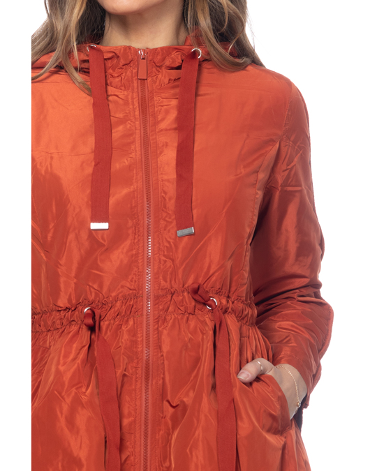 Tantra Long Jacket With Hood, Elastic Waist With Strings And Side Pockets