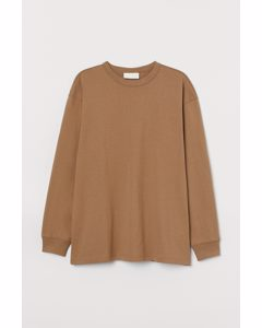 Long-sleeved Cotton T-shirt Dark Beige