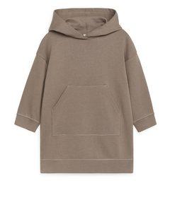 Sweatshirt-Kleid mit Kapuze Braun
