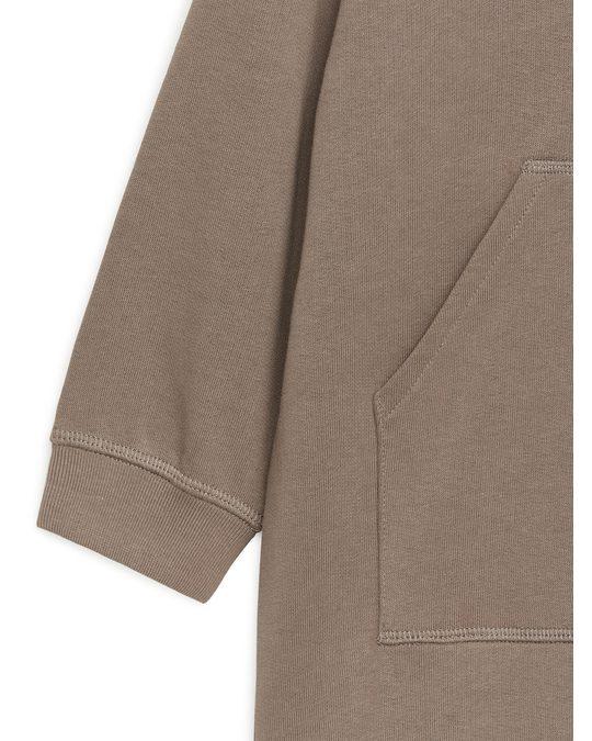Arket Sweatshirt-Kleid mit Kapuze Braun