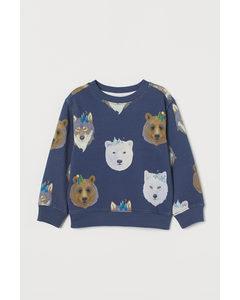 Mönstrad Sweatshirt Mörkblå/polardjur