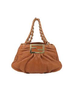 Fendi Mia Leather Shoulder Bag Brown