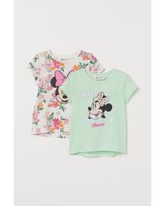2er-Pack Shirts mit Druck Hellgrün/Minnie Maus