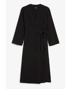 Long V-neck wrap dress Black magic