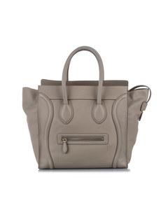 Celine Luggage Leather Tote Bag White