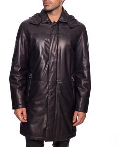 Lamb Leather Three Quarter Length Coat With Removable Hood - Black