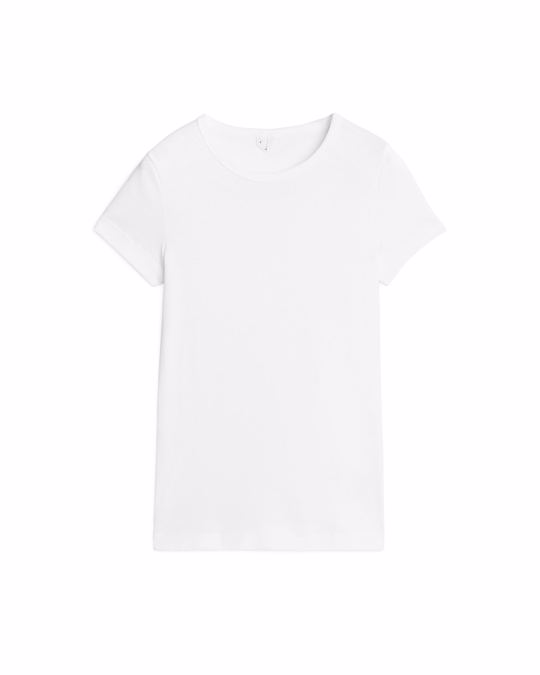 Arket Rib-Knit T-Shirt White