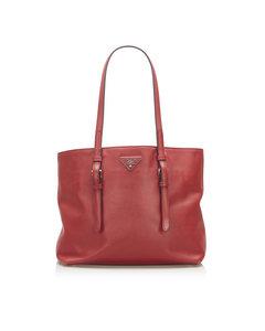Prada Soft Saffiano Leather Tote Bag Red