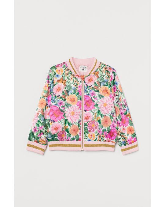 H&M Satin Bomber Jacket Natural White/floral