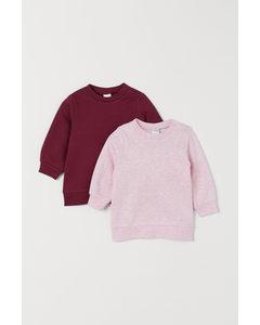 2-pack Sweatshirt I Bomull Mörkröd/ljus Rosamelerad