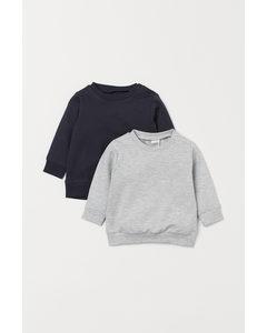 2-pack Sweatshirt I Bomull Mörkblå/ljus Gråmelerad