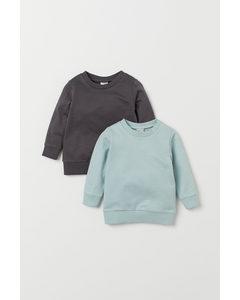 2-pack Sweatshirt I Bomull Ljus Turkos/mörkgrå