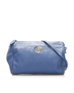 Versace Leather Crossbody Bag Blue