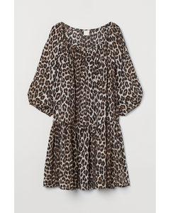 Luftiges Kleid Schwarz/Leopardenmuster