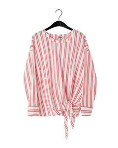 Veronica Blouse Double Red Stripe